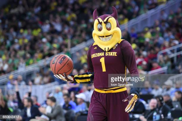 The Arizona State mascot Sparky looks on during the quarterfinal game of the Pac12 Tournament between the Arizona State Sun Devils and the Oregon...