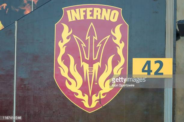 The Arizona State Sun Devils Inferno logo during the college football game between the Sacramento State Hornets and the Arizona State Sun Devils on...