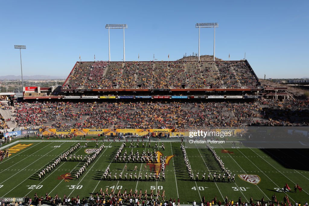 The Arizona State Sun Devils marching band performs before the college football game against the Arizona Wildcats at Sun Devil Stadium on November 25, 2017 in Tempe, Arizona.