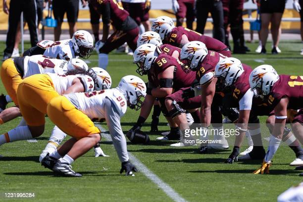 The Arizona State Sun Devils offense and defense line up during the college football spring scrimmage of the Arizona State Sun Devils on March 28,...