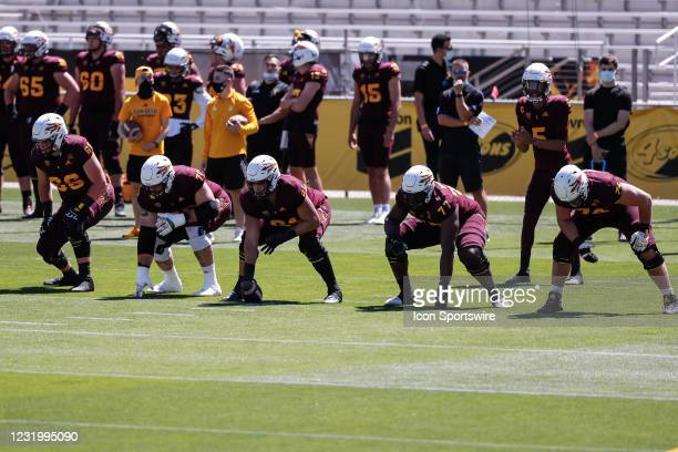The Arizona State Sun Devils offensive line lines up during the college football spring scrimmage of the Arizona State Sun Devils on March 28, 2021...