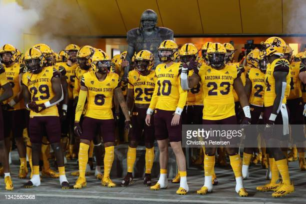 The Arizona State Sun Devils prepares to take the field in the NCAAF game against the Colorado Buffaloes at Sun Devil Stadium on September 25, 2021...