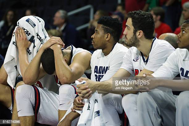 The Arizona Wildcats bench reacts in the second half against the Wichita State Shockers during the first round of the 2016 NCAA Men's Basketball...