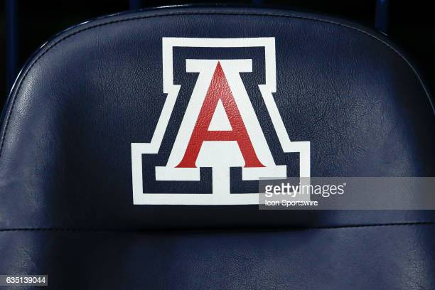 The Arizona Wildcats logo on a courtside chair before the college basketball game between the Cal Golden Bears and the Arizona Wildcats on February...