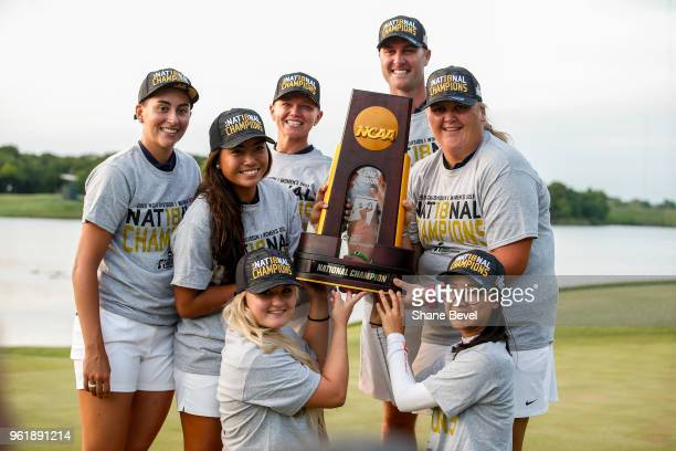 The Arizona Women's Golf team poses with the National Championship trophy during the Division I Women's Golf Team Match Play Championship held at the...