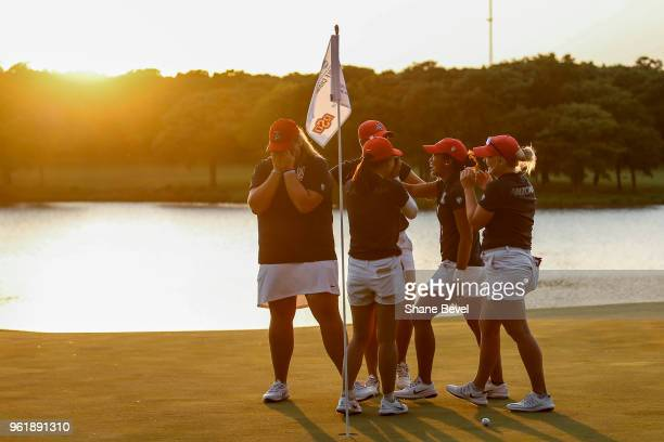 The Arizona Women's Golf team reacts to winning the Division I Women's Golf Team Match Play Championship held at the Karsten Creek Golf Club on May...