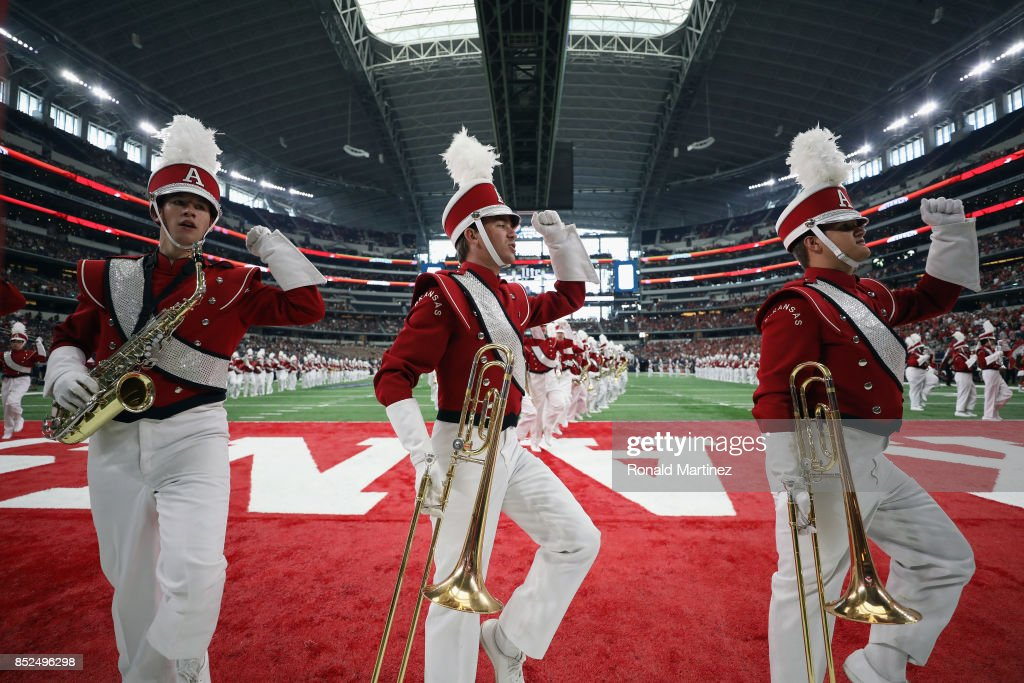 The Arkansas Razorbacks marching band performs at AT&T Stadium on September 23, 2017 in Arlington, Texas.