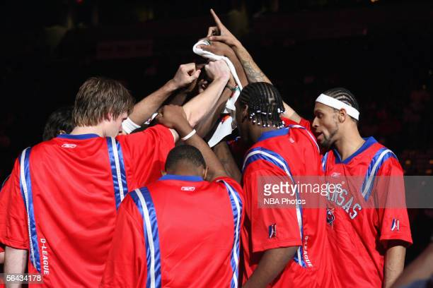 The Arkansas RimRockers in a team huddle prior to their game against the Austin Toros at Alltel Arena November 25, 2005 in North Little Rock,...
