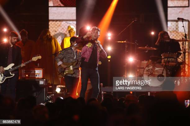 The Arkells perform during the JUNO awards show at the Canadian Tire Centre in Ottawa Canada April 2 2017 / AFP PHOTO / Lars Hagberg