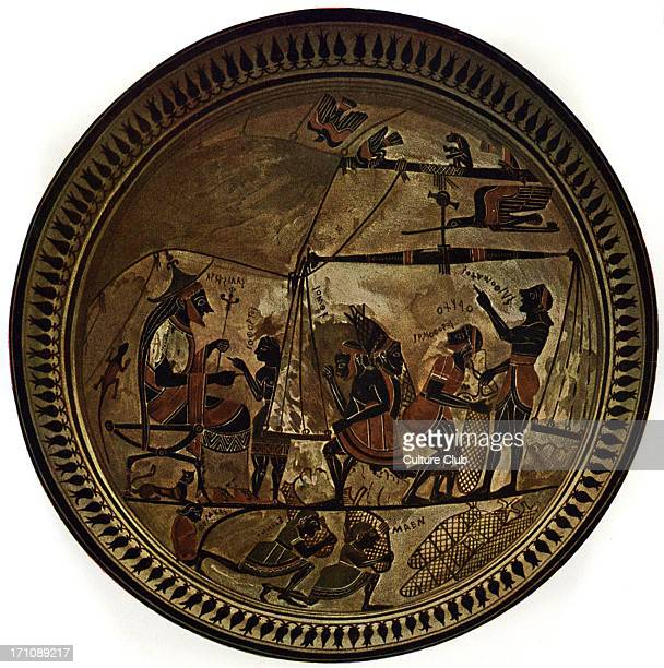 The Arkiselaos Plate Greek black figure pottery depicting King Arkiselaos of Cyrene modern Libya overseeing a medicinal herb being packed for export