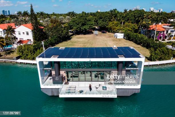 The Arkup luxury floating villa is docked at Star Island in Miami Beach, Florida, on February 5, 2021. - Miami residents are used to seeing this...