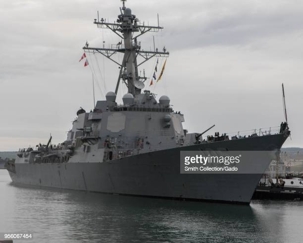 The Arleigh Burkeclass guidedmissile destroyer USS Dewey in Pearl Harbor Hawaii USA May 2 2018 Image courtesy Petty Officer 2nd Class Somers Steelman...
