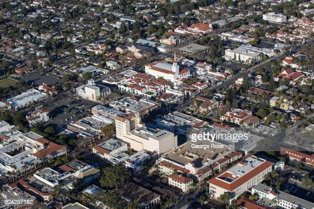 The Arlington and Granada Theaters along State Street in downtown are viewed in this aerial photo on February 23 in Santa Barbara California A...