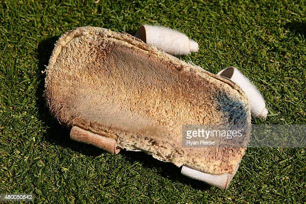 The arm guard of Chris Rogers of Australia is seen on the field during day two of the 1st Investec Ashes Test match between England and Australia at...
