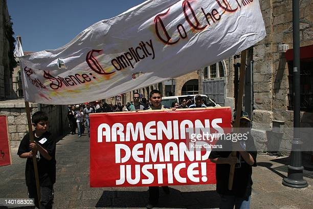 The Armenian community of the OldCity of Jerusalem make a protest demanding that the Israeli government recognize the historic mass killings of...