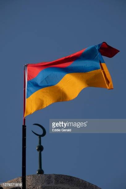 the armenian quarter in jerusalem - armenian flag stock pictures, royalty-free photos & images