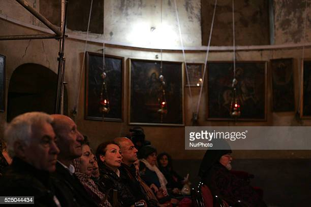 The Armenians celebrated Christmas on January 18 2015 in Bethlehem city West Bank amid the presence of popular and official Hundreds attended with...