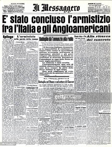 The armistice between Italy and the Anglo-Americans was concluded. The front page of 'Il Messaggero', printed page, Italy, Rome, September 9, 1943.