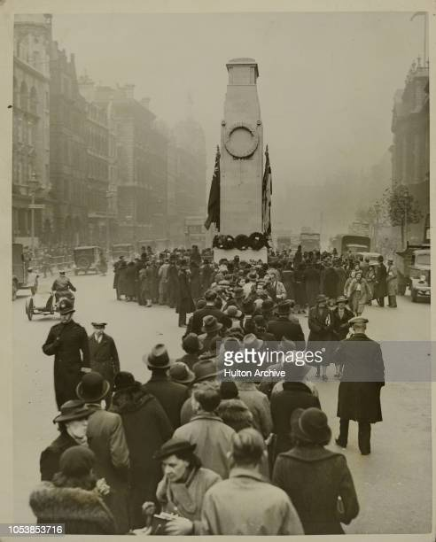 The Armistice The crowd filing past the Cenotaph in Whitehall after the official ceremony this morning London England