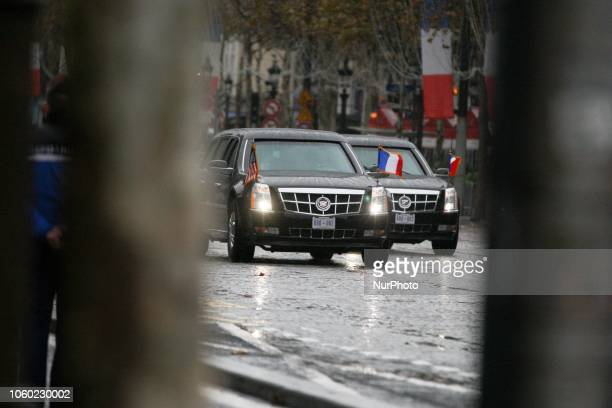 The armored limousine known as quotThe Beastquot carrying US president Donald Trump arrives on the Champs Elysées avenue during a ceremony at the Arc...