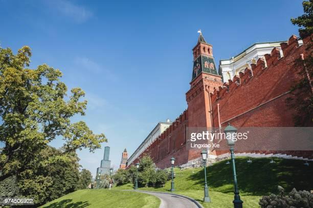 The Armoury (Oruzheynaya) Tower in Moscow Kremlin facing the Alexander Garden, Russia