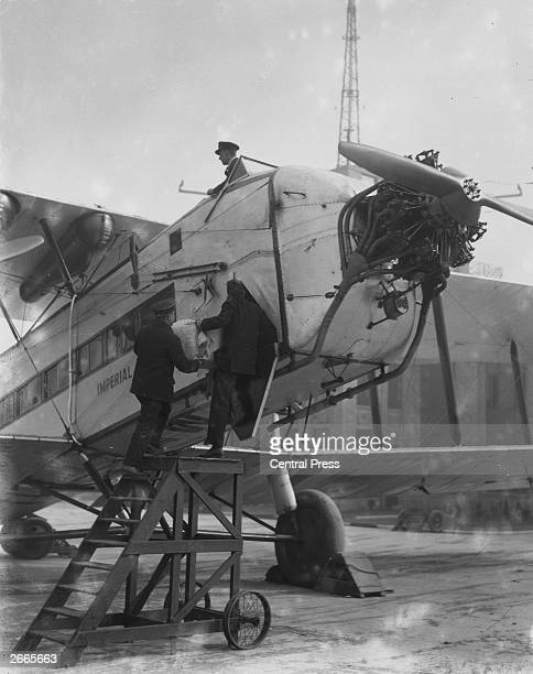 The Armstrong Whitworth Argosy biplane which started Britain's Imperial Airways in 1927 preparing to leave Croydon for a UKIndia airmail service