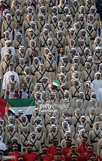 The army band make an interesting group of United Arab Emirates supporters during the Group A Gulf Cup Match between United Arab Emirates and Kuwait...
