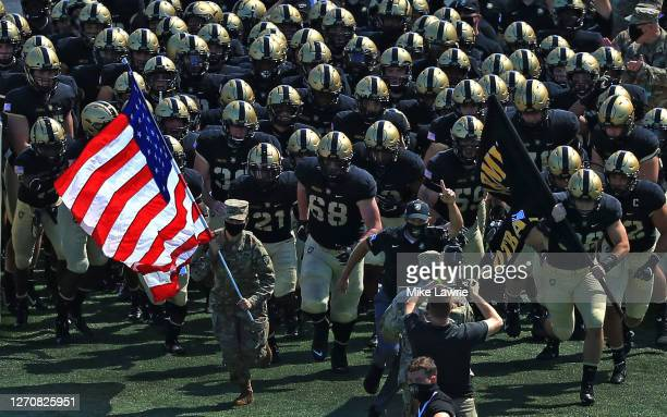 The Army Black Knights run on to the field before their game against the Middle Tennessee Blue Raiders at Michie Stadium on September 5, 2020 in West...