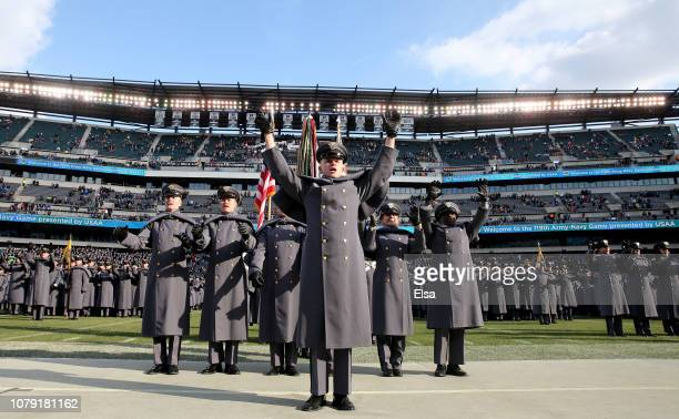 The Army cadets chant after they marched on the field before the game between the Army Black Knights and the Navy Midshipmen at Lincoln Financial...