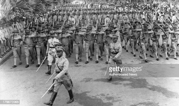 The Army of the Dominican Republic marches in Trujillo City Dominican Republic October1940