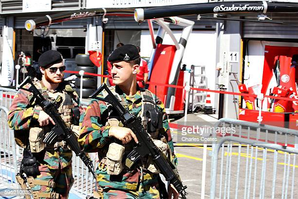 The army walk in the Pitlane during previews ahead of the Formula One Grand Prix of Belgium at Circuit de SpaFrancorchamps on August 25 2016 in Spa...