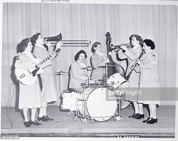 The Army's WAC Band the only allgirl band in all the women's services is shown during a jam session The girls will come into New York City next week...