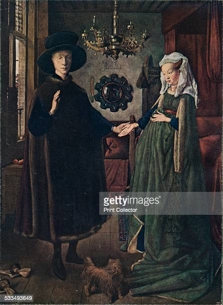 The Arnolfini Portrait 1434 This portrait shows Giovanni di Nicolao Arnolfini and his wife Jeanne de Chenany Painting held in The National Gallery...