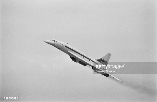 The Aérospatiale/BAC British-French supersonic passenger airliner Concorde at the Farnborough Air Show in Hampshire, UK, 16th September 1972.
