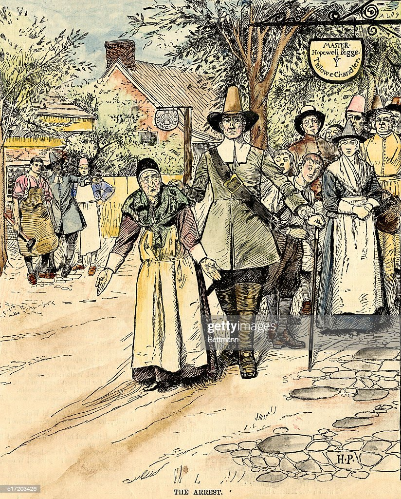 'The Arrest.' Illustration shows an officer of the law leading away an elderly woman, who has her hands out in a gesture of innocence. Undated.