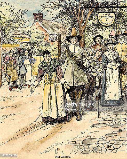 The Arrest Illustration shows an officer of the law leading away an elderly woman who has her hands out in a gesture of innocence Undated