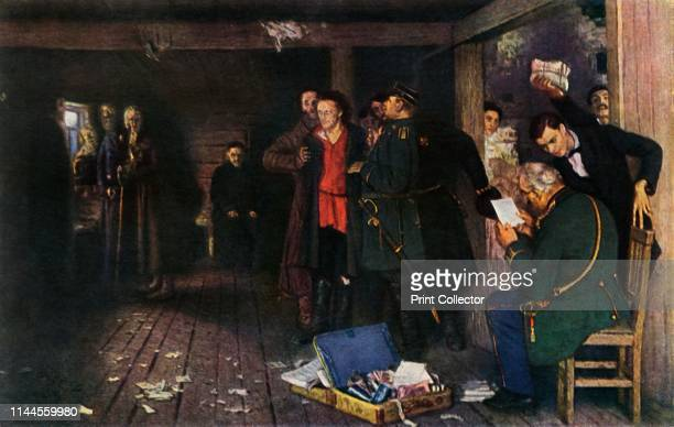The Arrest of a Propagandist' 18801889 A man is held as officials go through his documents Painting in the State Tretyakov Gallery Moscow From...