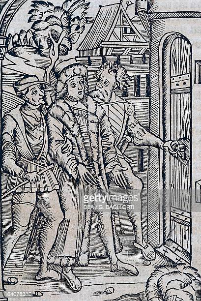 The arrest of Christopher Columbus by Francisco de Bobadilla in Hispaniola illustration from General History of the Indies by Francisco Lopez de...