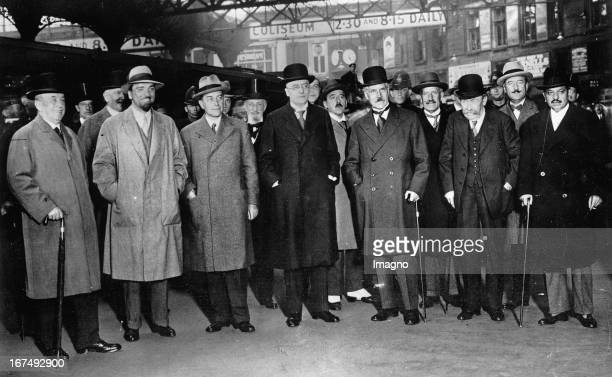 The arrival at Victoria Station where Prime Minister Ramsay MacDonald had gathered to greet them Von Left to Right Arthur Henderson Dino Grandi...
