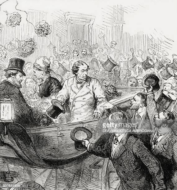 The arrival of Benjamin Disraeli at Charing Cross London United Kingdom after the Berlin Congress illustration from the magazine The Graphic volume...