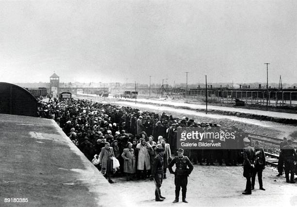 The arrival of Hungarian Jews to Birkenau station in AuschwitzBirkenau in Germanoccupied Poland June 1944 Between May 2nd and July 9th more than...