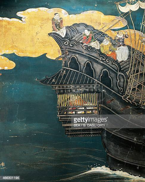 The arrival of Portuguese merchants in Japan detail from the Namban screen paper 16th17th century