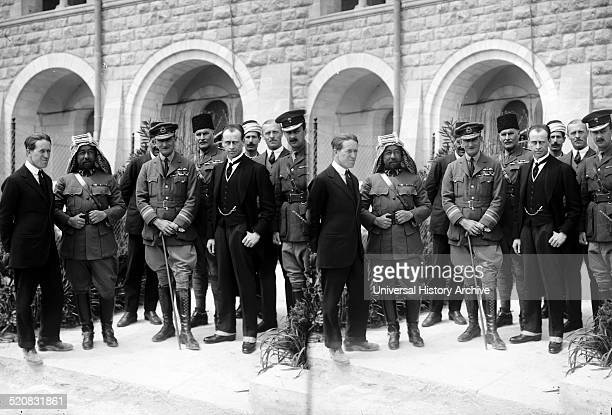 The arrival of Sir Herbert Samuel Col TE Lawrence Emir Abdullah Air Mar Salmond and Sir Wyndham Deedes at the 1920 Cairo Conference which aimed to...