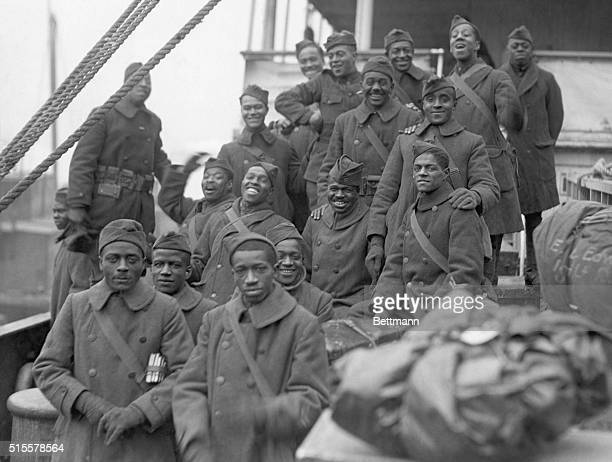 The arrival of the 369th Black infantry regiment in New York after World War I. Undated photograph.