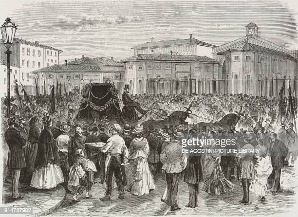 The arrival of the carriage bearing the ashes of the politician and historian Carlo Botta to Florence railway station Italy illustration from the...