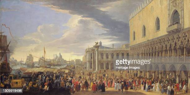 The Arrival of the Earl of Manchester in Venice, 1707-1710. Artist Luca Carlevarijs. .