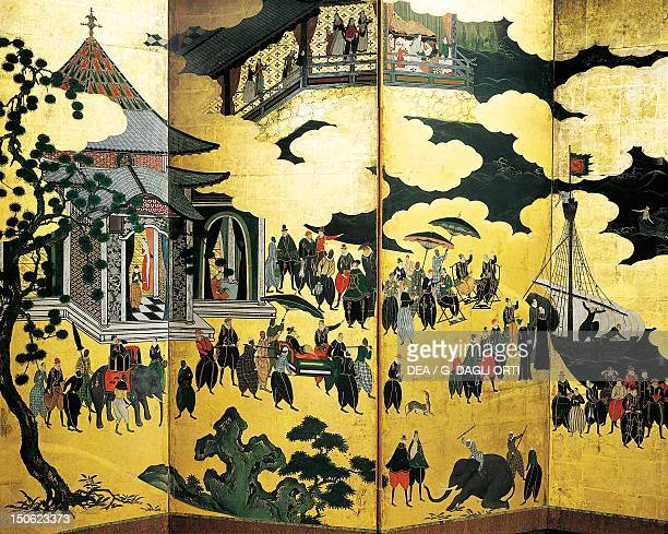 The arrival of the Portuguese in Japan detail from a screen decoration Namban art Japan Japanese Civilisation16th17th century