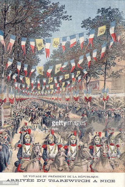 The arrival of the tsarevitch Nicolas II in Nice during the travel of the President of the french republic Felix Faure is an engraving by H Meyer...