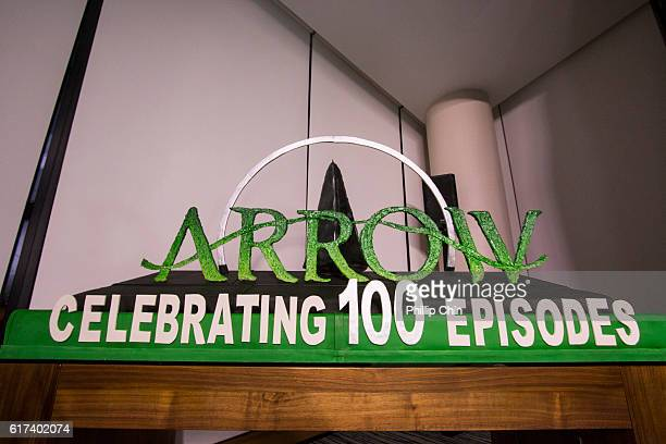 The Arrow cake arrives on the green carpet for the celebration of the 100th Episode of CW's Arrow at the Fairmont Pacific Rim Hotel on October 22...