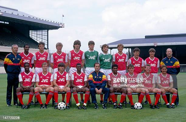 The Arsenal 1st team squad at Highbury Stadium in London August 1986 Back row Theo Foley Viv Anderson David O'Leary Tommy Caton Niall Quinn John...
